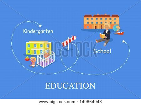 Education process from kindergarten to school. Two children play on the floor on the background of kindergarten. Schoolboy with book on the background of school building. Education concept