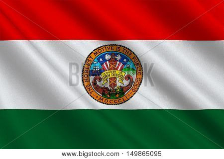 Flag of San Diego is a County in California United States. 3D illustration