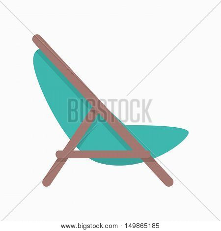 Beach chaise vector illustration in flat style design. Summer vacation on seacoast concept.  Lounge icon for traveling and leisure Isolated on white background.