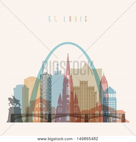 Transparent styled St. Louis state Missouri skyline detailed silhouette. Trendy vector illustration.