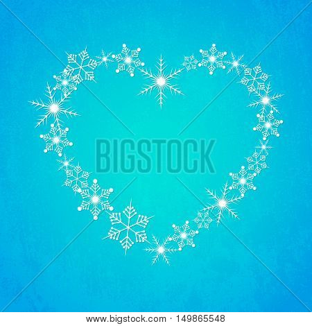 Heart shape of snowflakes. Heart from snowflakes. Abstract Christmas background with snowflakes. Blue winter background. Vector illustration.
