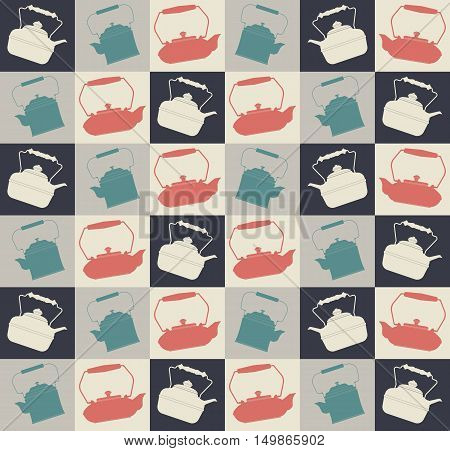 Retro seamless pattern with colorful teapots can be used for design fabric, textile, kitchen designs, menu designs and more creative projects.