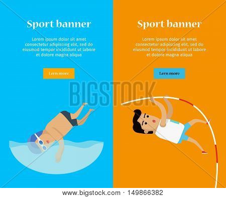 Swimming and pole vault sports banners. Swimmer in goggles and cap in swimming pool. Male athlete in sports uniform performing a pole vault.