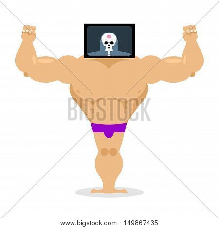 X-ray Head Bodybuilder. Large Muscles And Small Brain. Structure Of  Pitching. Athlete Scheme. Humor