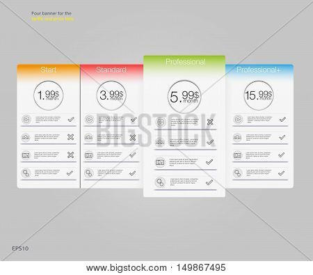 Four banner for the tariffs and price lists. Web elements. Plan hosting. Vector design for web app. Pricing table banner list.