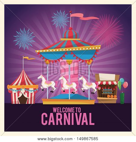 Carousel tent stand and balloons. Carnival festival fair circus and celebration theme. Colorful design. Striped background. Vector illustration