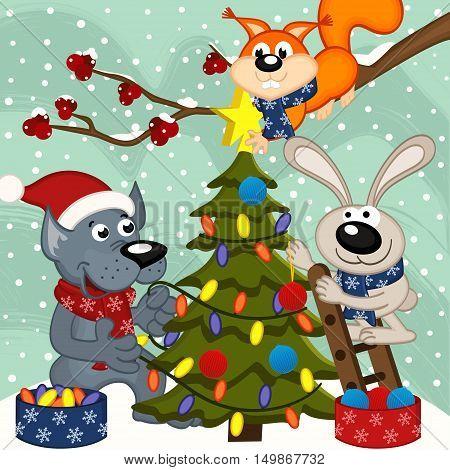 animals decorating Christmas tree - vector illustration, eps