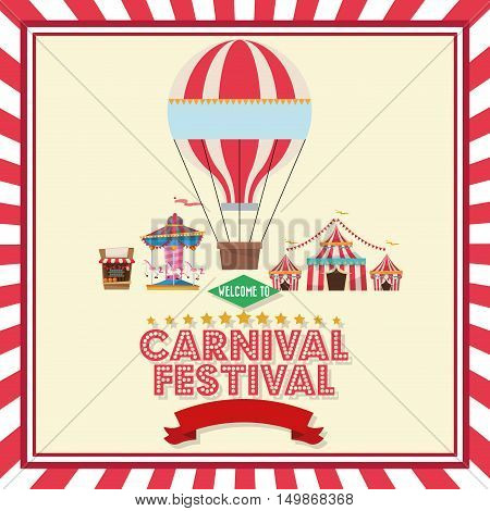 Hot air balloon carousel tents and stands. Carnival festival fair circus and celebration theme. Colorful design. Vector illustration