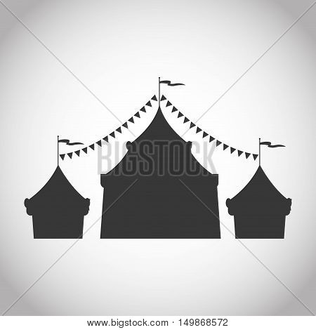 Tent icon. Carnival festival fair circus and celebration theme. Isolated and silhouette design. Vector illustration