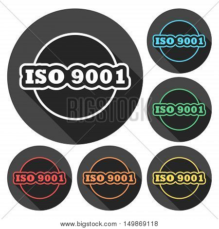 ISO 9001 certified sign icon set with long shadow