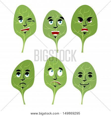 Emotions Spinach. Set Expressions Avatar Greens. Lettuce Leaf Good And Evil. Discouraged And Cheerfu