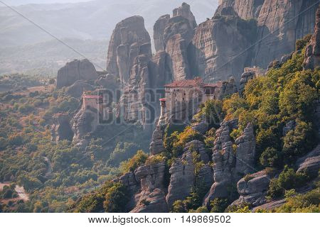 View on the Meteora vally with the Rousanou and the St. Nicholas Anapausas monasteries