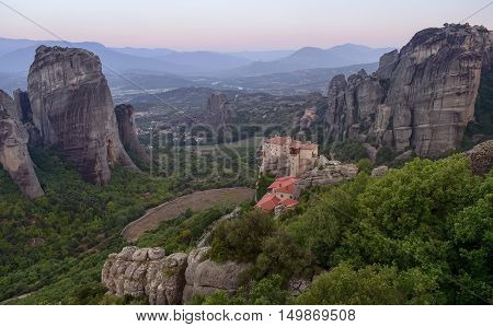 Morning view on the Meteora vally with the Rousanou the St. Nicholas Anapausas and Grand Meteora monasteries