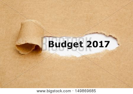 Text Budget 2017 appearing behind ripped brown paper.