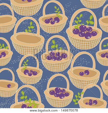 Endless background with baskets full of berries. Vector colorful pattern.