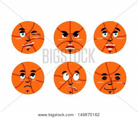 Emotions Basketball Ball. Set Expressions Avatar Sports Game. Good And Evil. Discouraged And Cheerfu