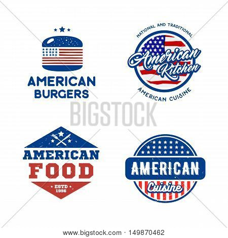 Set of retro logos american cuisine concept. Creative vector illustration for fast food, restaurant labels, emblems, badges.