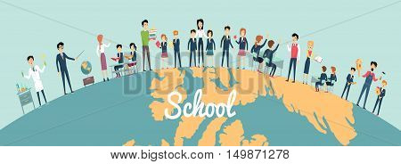 School education in the world concept. Pupils and teachers holding hands around the globe on blue background