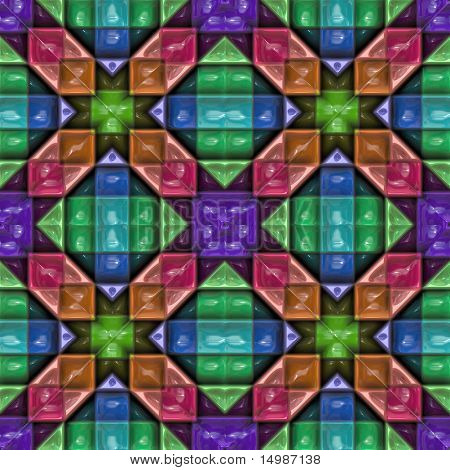 Colorful repeating plastic glossy kaleidoscope pattern background design
