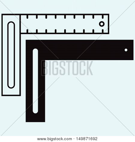 Setsquare symbol. Isolated on blue background. Vector silhouettes