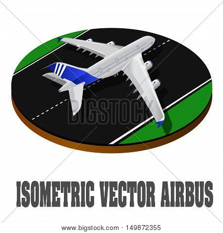 Large passenger Airplane 3d isometric illustration. Flat 3d isometric high quality transport. Vehicles designed to carry large numbers of passengers. Airplane 3d. Airplane Vector. Airplane flight, Passenger Airplane. Passenger Helicopter. Isometric Transp