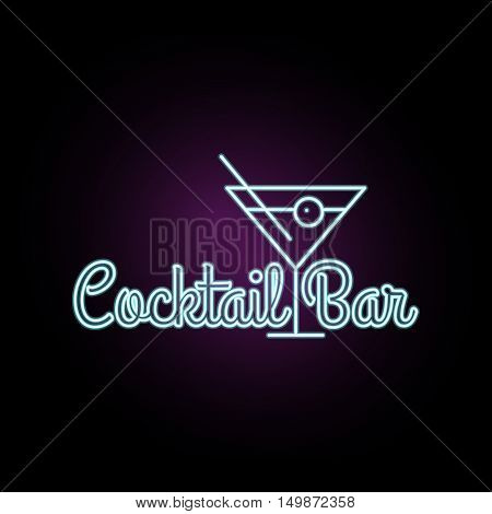 Coctail Bar neon logo design. Isolated on black background. Retro/vintage neon sign. Design element for your ad signs posters banners. Vector illustration