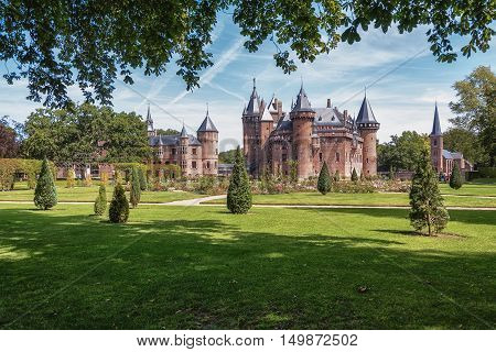 Haarzuilens Netherlands - August 5 2015: The oldest historical record of a building at the location of the current De Haar castle dates to 1391. The current buildings of De Haarzuilens, Netherlands - August 5: The oldest historical record of a building at