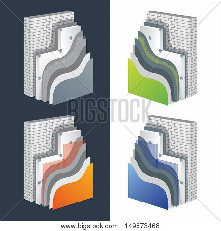 Thermal insulation cross-section layered schemes set. Wall thermal protection principle construction. Exterior isolation layers. Polystyrene insulated brick wall. Editable eps10 vector illustration.