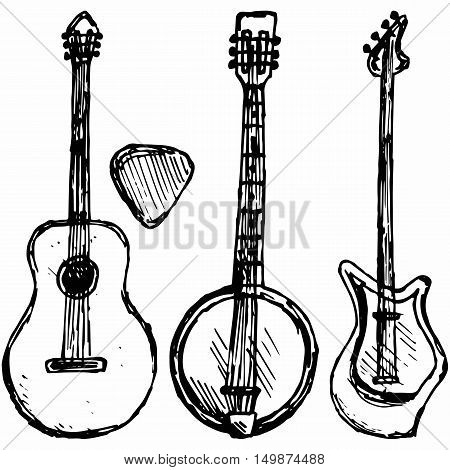 Guitar plectrum guitar and banjo. Isolated on blue background. Vector silhouettes