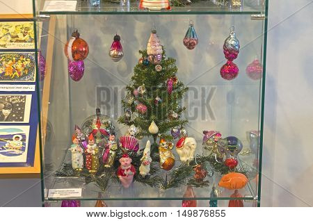 KLIN RUSSIA - JANUARY 16 2016: Old Christmas decorations on the theme of the circus. 50 th-70th years of the twentieth century. Museum of Christmas toys.