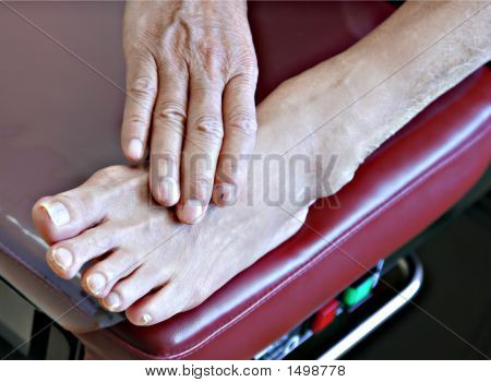 Senior Patient Foot On Examination Bench