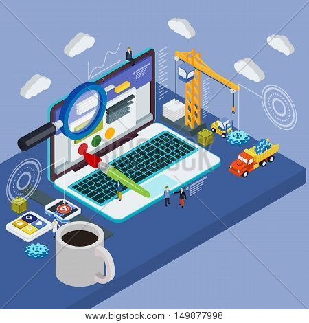 Flat 3D Laptop And Smart Watches. Businessman Put In Document Drawer Folder In Cloud-shaped Cabinet.