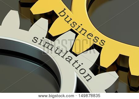 Business Simulation concept on the gearwheels 3D rendering