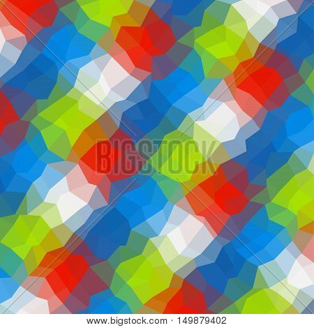 Abstract low polygonal - mosaic geometry polygon background in vivid colors of blue red green and white glass effect