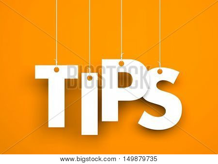 Tips - word hanging on rope. 3d illustration