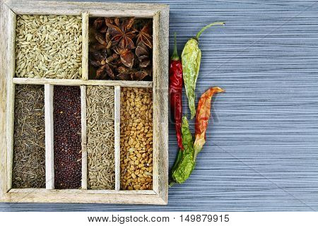 Indian spices in the spice box on a stone background with dried red chili pepers.