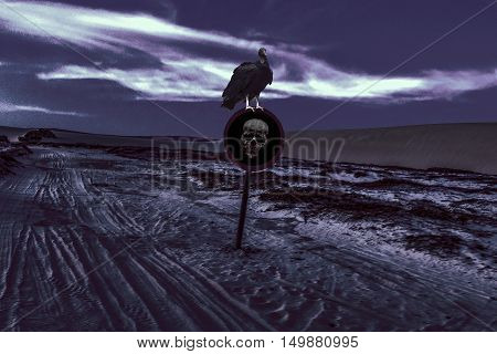 Digital photo collage technique dark night scebe with black bird at warning signpost with skull at deserted dunes landscape view.