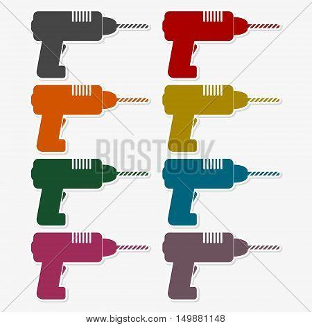 Colored flat drill icon. Vector set symbol drill