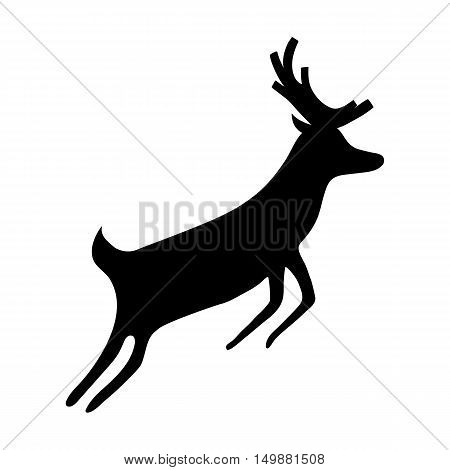Reindeer isolated on white background. Silhouette of deer, vector illustration