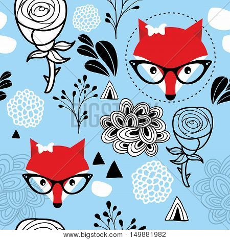 Seamless frozen pattern with winter fox and roses. Vector texture of abstract elements.