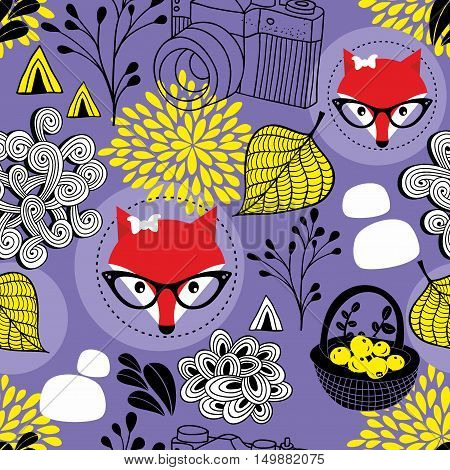 Cute seamless pattern with red foxes and autumn leaves. Vector background.