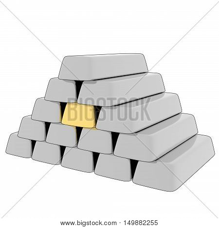 A 3D, cartoon rendering of a stack of silver bars with a single gold bar in the center.
