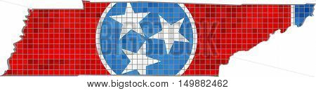 Tennessee map with flag inside - Illustration, Tennessee map grunge mosaic, Abstract grunge mosaic vector