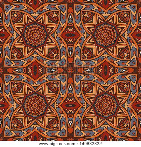 Sacred geometry intricate seamless ethnic tribal pattern