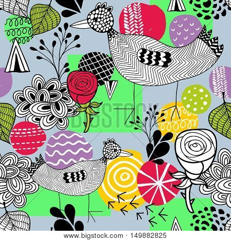 Seamless spring pattern with doodle farm birds. Vector illustration.