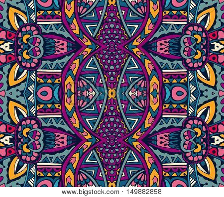 ethnic festive pattern for fabric. Intricate geometric colorful vintage seamless pattern ornamental.