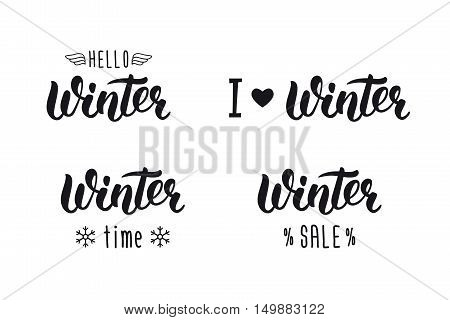 Winter handlettering set. Winter logos and emblems for invitation greeting card t-shirt prints and posters. Hand drawn winter inspiration phrase. Vector illustration