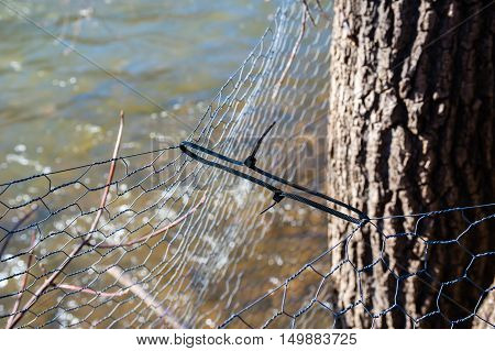 Plastic zip ties holding thin wire fences together near tree and water.
