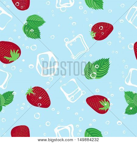 Strawberry mojito seamless vector pattern.  Ice cubes, strawberry and mint illustration on blue background.