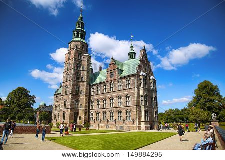 Copenhagen Denmark - August 15 2016: Rosenborg Castle is a renaissance castle located in Copenhagen build by King Christian IV in Copenhagen Denmark on August 15 2016.